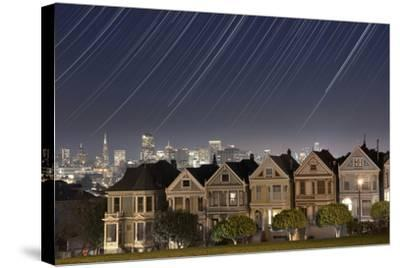 California, San Francisco. Composite of Star Trails Above Painted Ladies Victorian Homes-Jaynes Gallery-Stretched Canvas Print