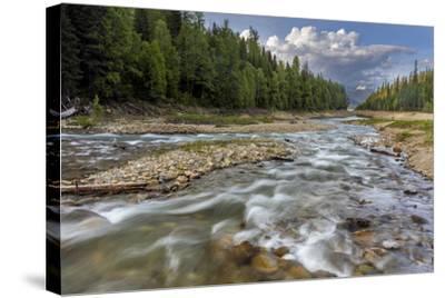 Doris Creek Runs into Hungry Horse Reservoir with Flathead Range, Flathead National Forest, Montana-Chuck Haney-Stretched Canvas Print