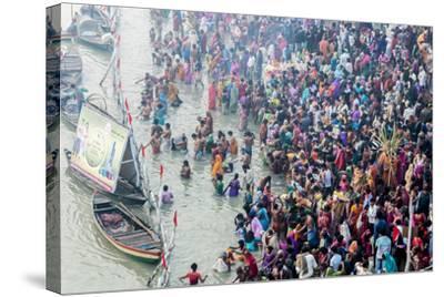 India, Sonepur, Devout Pilgrims Bathing in the Ganges River on Kartik Purnima-Ellen Clark-Stretched Canvas Print