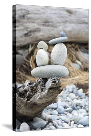 Us, Wa, Dungeness Spit. Rock Cairns on Driftwood-Trish Drury-Stretched Canvas Print