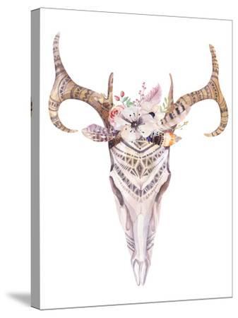 Bohemian Deer Skull - Western Mammal Watercolor-Kris_art-Stretched Canvas Print