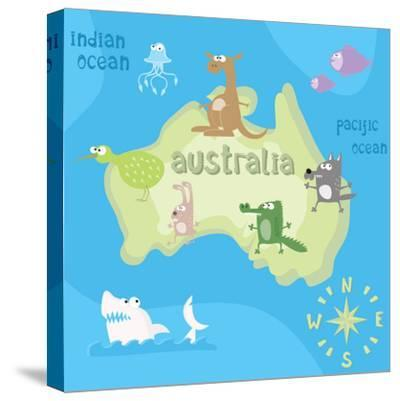 Concept Design Map of Australian Continent with Animals Drawing in Funny Cartoon Style for Kids And-Dunhill-Stretched Canvas Print