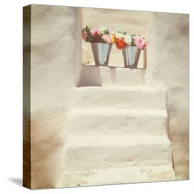 A Staircase of a Greek, White House with Two Bunches of Flowers-Joana Kruse-Stretched Canvas Print