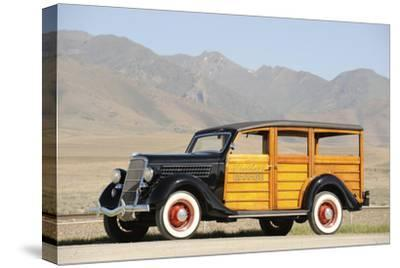 Ford woodie deluxe station wagon 1935-Simon Clay-Stretched Canvas Print