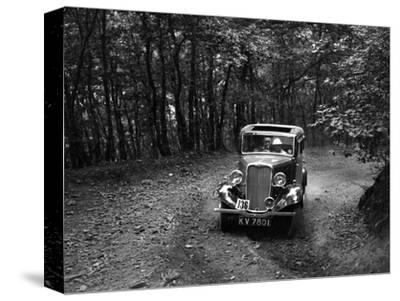 Singer Nine saloon competing in the B&HMC Brighton-Beer Trial, Fingle Bridge Hill, Devon, 1934-Bill Brunell-Stretched Canvas Print