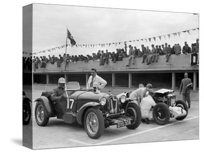 Alfa Romeo and supercharged MG Midget on the start line at Brooklands, 1938 or 1939-Bill Brunell-Stretched Canvas Print