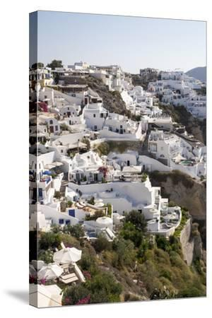 High Angle View of Whitewashed Buildings in Santorini, Greece-Krista Rossow-Stretched Canvas Print