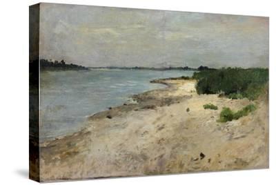 View over the Rhine, Düsseldorf near the earlier Golzheimer Island. Ca. 1865-Theodor Hagen-Stretched Canvas Print