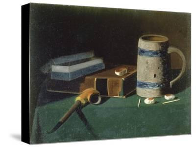 Still life with book, pipe and beer mug-John Prederick Peto-Stretched Canvas Print