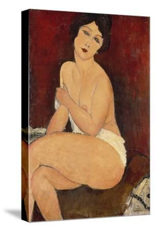 Sitzender Akt auf einem Diwan (oder: La belle Romaine). 1917-Amadeo Modigliani-Stretched Canvas Print
