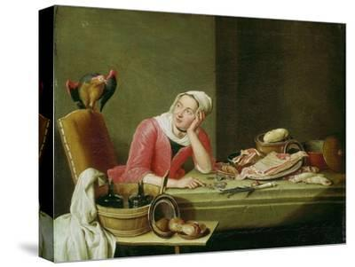 Still life with cookmaid counting money and a parrot-Peter Jakob Horemans-Stretched Canvas Print
