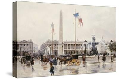 A View of the Place de la Concorde, Paris-Ulpiano Checa Y Sanz-Stretched Canvas Print