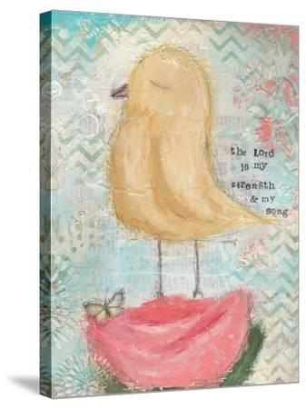 Yellow Bird, Pink Flower-Cassandra Cushman-Stretched Canvas Print
