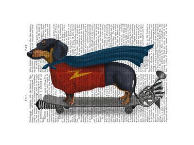 Dachshund On Skateboard-Fab Funky-Stretched Canvas Print