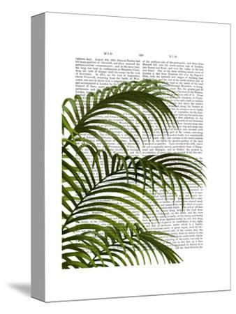 Palm Leaf 1, Green On White-Fab Funky-Stretched Canvas Print
