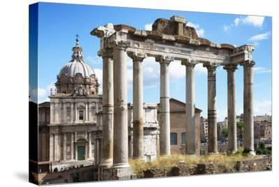 Dolce Vita Rome Collection - Roman Columns Rome-Philippe Hugonnard-Stretched Canvas Print