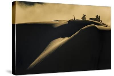 Skier Pulls Skins For Another Run In The Cascade Backcountry During A Winter Storm-Jay Goodrich-Stretched Canvas Print