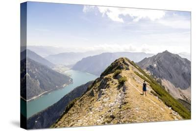 Achensee, Tyrol, Austria: Female Hiker Ridge Between The Mountains Seekarspitze And Seebergspitze-Axel Brunst-Stretched Canvas Print
