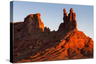 The Morning Sun Hits The Eastern Side Of Buttes In Valley Of The Gods, Utah-Mike Cavaroc-Stretched Canvas Print