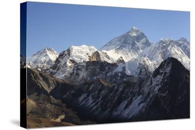 Mount Everest From Gokyo Ri. Sagarmatha National Park. Solukhumbu District. Nepal-Oscar Dominguez-Stretched Canvas Print