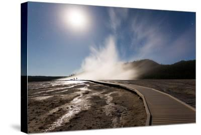 Family Doing Photography, Grand Prismatic Spring, Midway Geyser Basin, Yellowstone NP, Wyoming-Mike Cavaroc-Stretched Canvas Print
