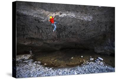 Kyle Vassilopoulos Climbs Out Over A Portion Of The Main Boulder River On Reflective Technique-Ben Herndon-Stretched Canvas Print