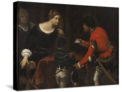Caterina Cornaro, Queen of Cyprus, Receiving a Letter from the Council-Giuseppe Caletti-Stretched Canvas Print