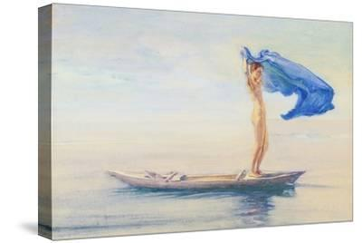 Girl in Bow of Canoe Spreading Out Her Loin-Cloth for a Sail, Samoa, c.1895-96-John La Farge or Lafarge-Stretched Canvas Print