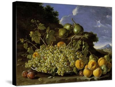 Still Life With Plate Of Grapes, Peaches, Pears And Plums In A Landscape, c.1771-Luis Egidio Melendez-Stretched Canvas Print