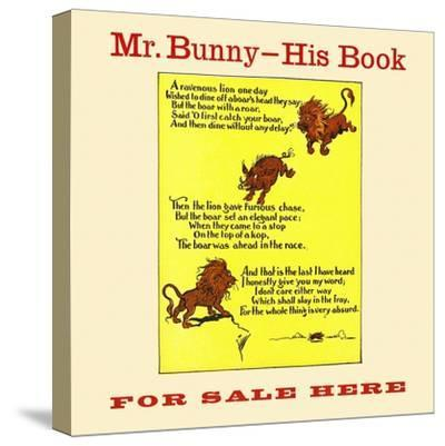 Mr. Bunny-His Book, For Sale Here-W.H. Fry-Stretched Canvas Print