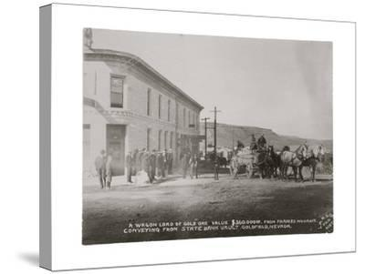 Goldfield, Nevada Armed Guards With Wagon Of Gold Ore-P.E. Larson-Stretched Canvas Print