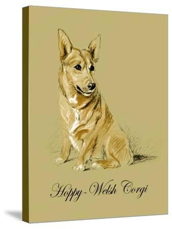 Hoppy The Welsh Corgi-Lucy Dawson-Stretched Canvas Print