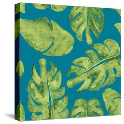 Leaves On Teal-Kat Papa-Stretched Canvas Print