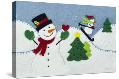 Holiday Snowman-Betz White-Stretched Canvas Print