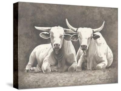 Two White Bulls-Gwendolyn Babbitt-Stretched Canvas Print