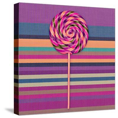Lollipop on Bright Striped Background. Vanilla Minimal Style-Evgeniya Porechenskaya-Stretched Canvas Print