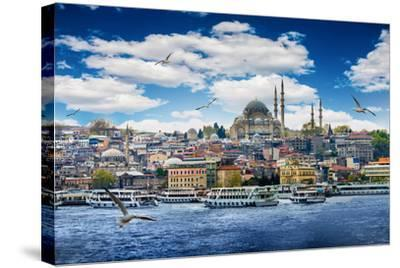 Istanbul the Capital of Turkey, Eastern Tourist City.- seqoya-Stretched Canvas Print