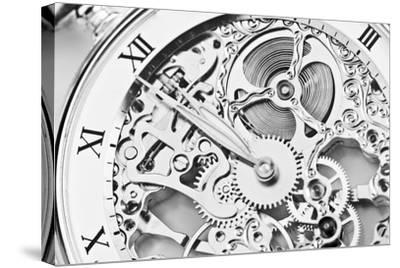 Black and White close View of Watch Mechanism- ThomasLENNE-Stretched Canvas Print