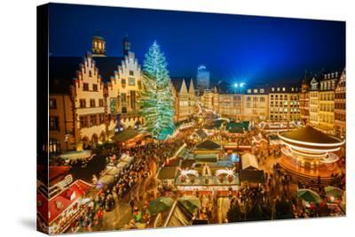 Traditional Christmas Market in the Historic Center of Frankfurt, Germany-S Borisov-Stretched Canvas Print