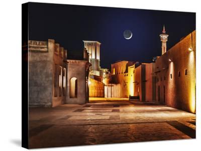 Night View of the Streets of the Old Arab City Dubai UAE- Laborant-Stretched Canvas Print
