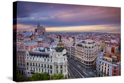 Madrid. Cityscape Image of Madrid, Spain during Sunset.-Rudy Balasko-Stretched Canvas Print