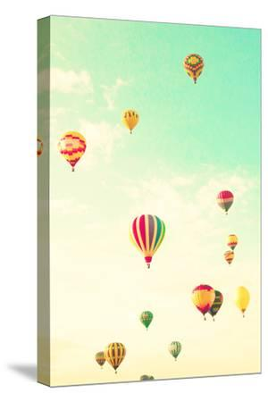 Colorful Hot Air Balloons in a Green Mint Summer Sky-Andrekart Photography-Stretched Canvas Print