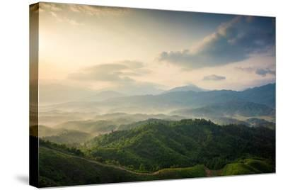 Mountains under Mist in the Morning in Zixi County, Fuzhou City,Jiangxi Province,China- Humannet-Stretched Canvas Print