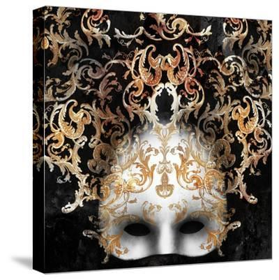 Beautiful and Elegant Venetian Mask with a Rich Baroque Decor on Black Background-Valentina Photos-Stretched Canvas Print