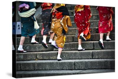 Japanese Ladies in Traditional Dress-Neale Cousland-Stretched Canvas Print