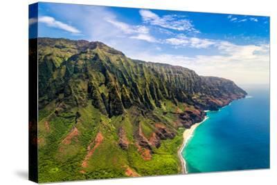 Aerial Landscape View of Spectacular Na Pali Coast, Kauai, Hawaii, USA-Martin M303-Stretched Canvas Print