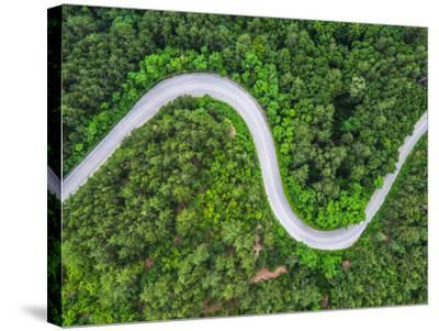 Aerial View over Mountain Road Going through Forest Landscape-Valentin Valkov-Stretched Canvas Print