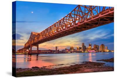 New Orleans, Louisiana, USA at Crescent City Connection Bridge over the Mississippi River.-Sean Pavone-Stretched Canvas Print