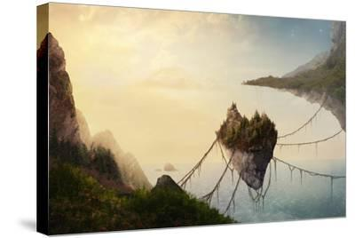 A Surreal Landscape at Sunset with Floating Islands.-Amanda Carden-Stretched Canvas Print