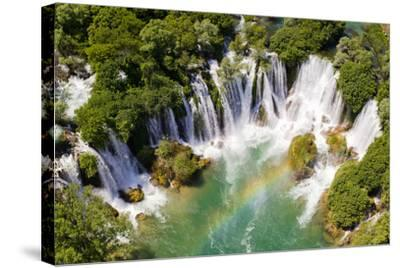 Aerial View of Waterfall with Rainbow-Studio Hrg-Stretched Canvas Print